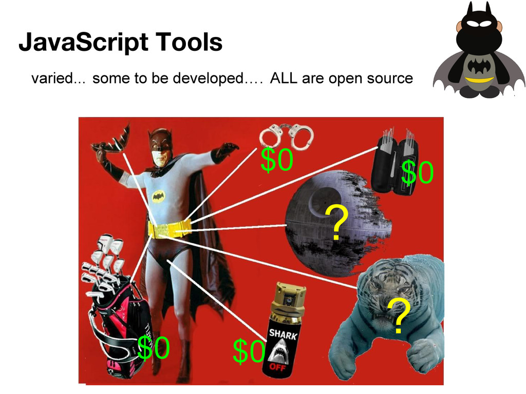 varied... JavaScript Tools some to be developed...