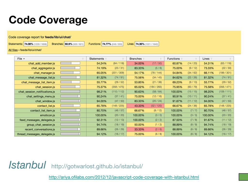 Code Coverage Istanbul http://ariya.ofilabs.com...