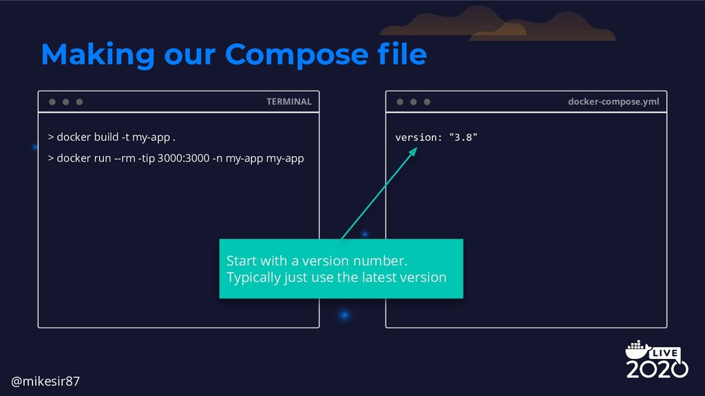 """docker-compose.yml version: """"3.8"""" Making our Co..."""
