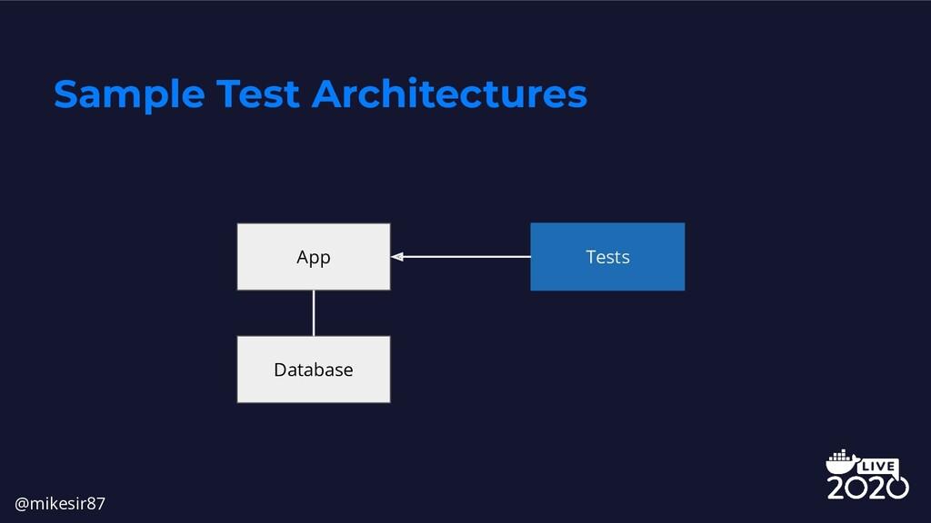 Sample Test Architectures App Database Tests @m...