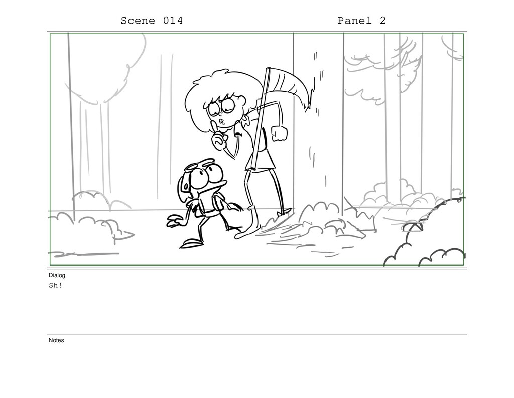 Scene 014 Panel 2 Dialog Sh! Notes