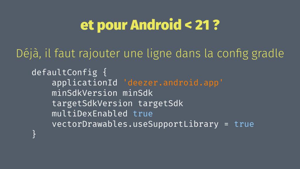 et pour Android < 21 ? Déjà, il faut rajouter u...