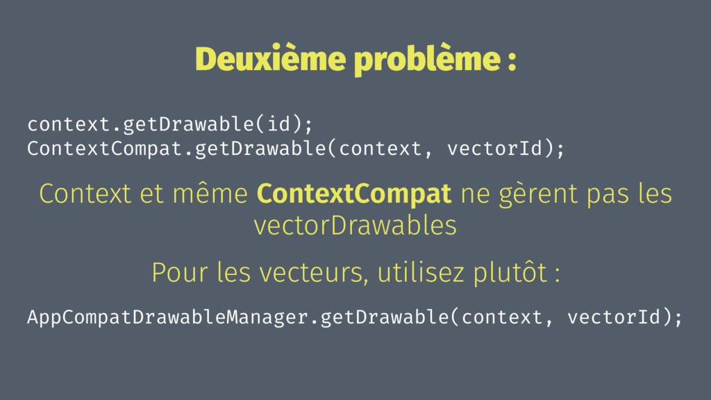Deuxième problème : context.getDrawable(id); Co...