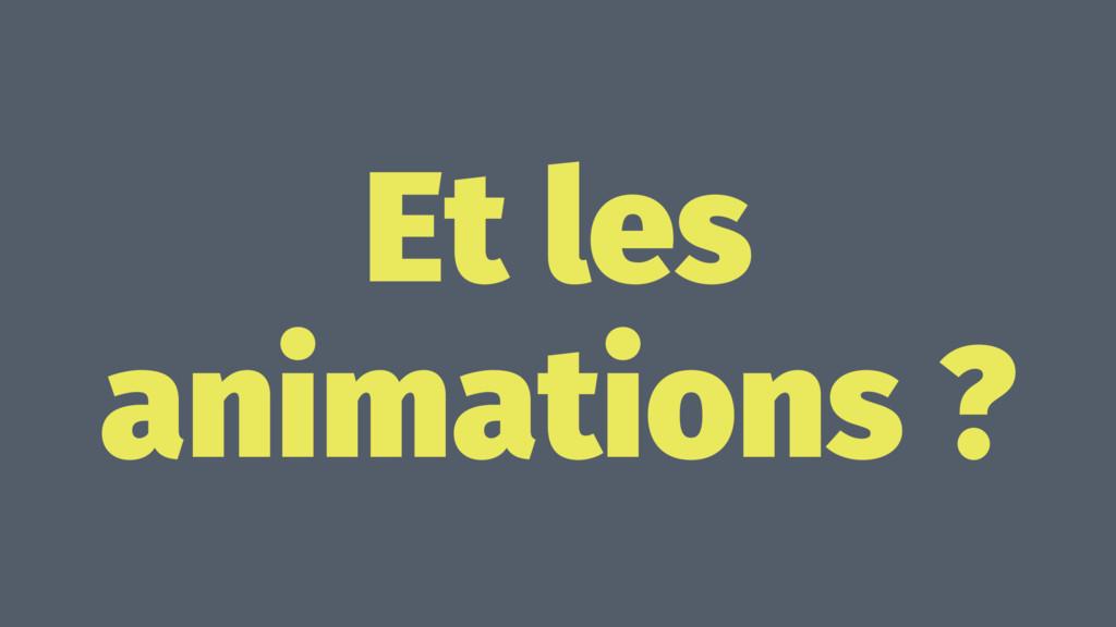 Et les animations ?