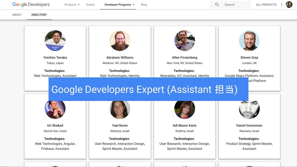 Google Developers Expert (Assistant 担当)