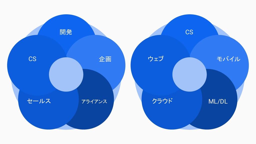 開発 企画 アライアンス セールス CS CS モバイル ML/DL クラウド ウェブ
