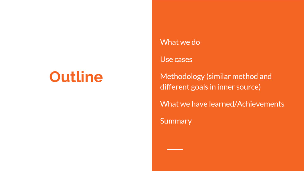 Outline What we do Use cases Methodology (simil...