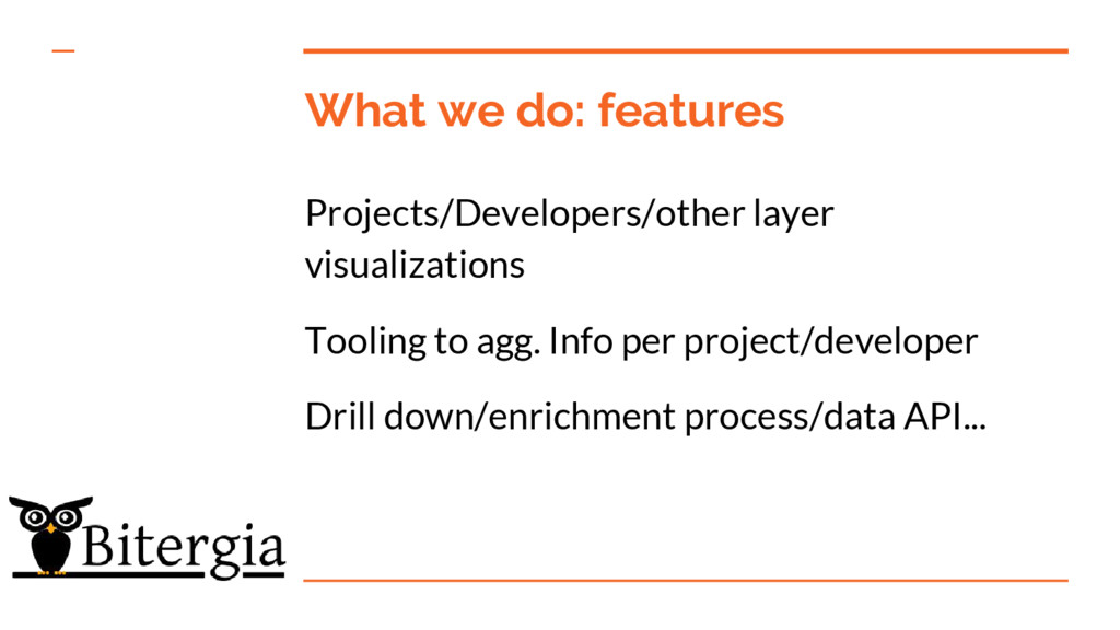 What we do: features Projects/Developers/other ...