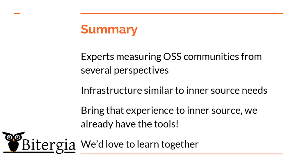Summary Experts measuring OSS communities from ...