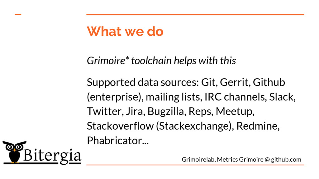 What we do Grimoire* toolchain helps with this ...