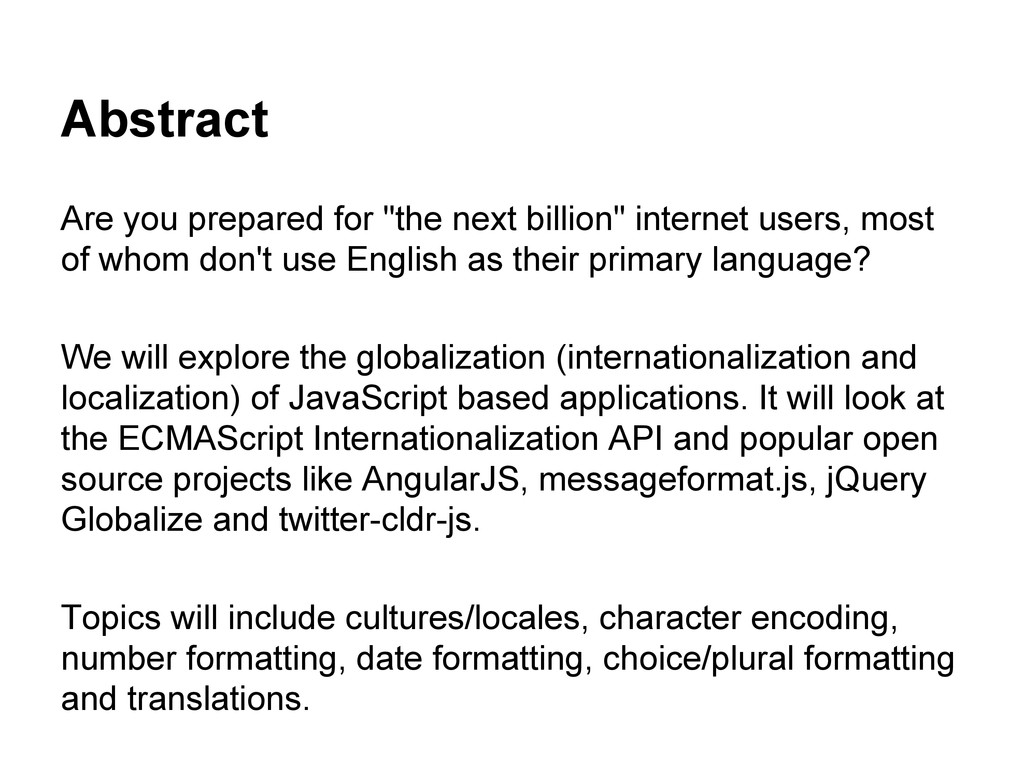 """Abstract Are you prepared for """"the next billion..."""