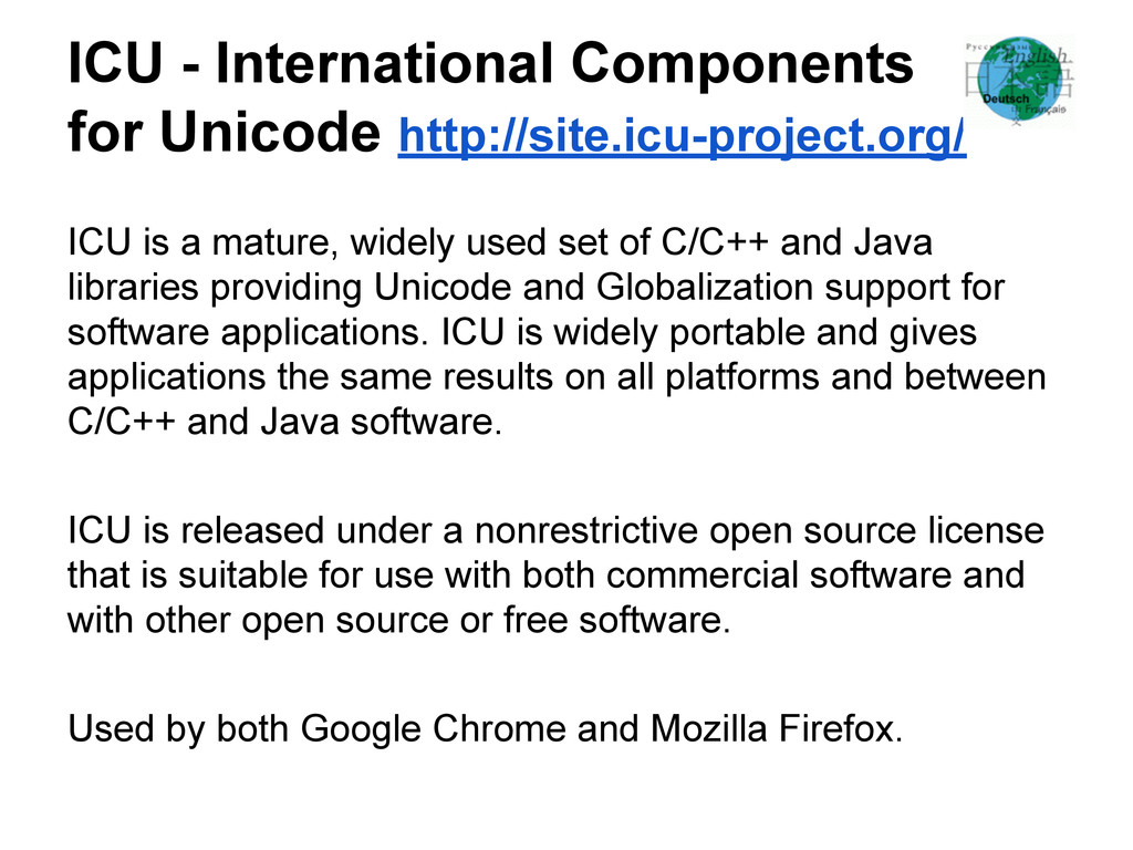 ICU - International Components for Unicode http...