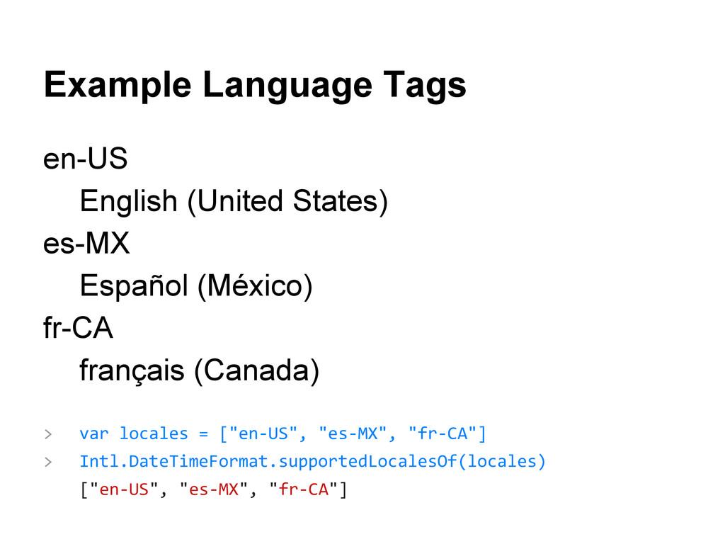 Example Language Tags en-US English (United Sta...