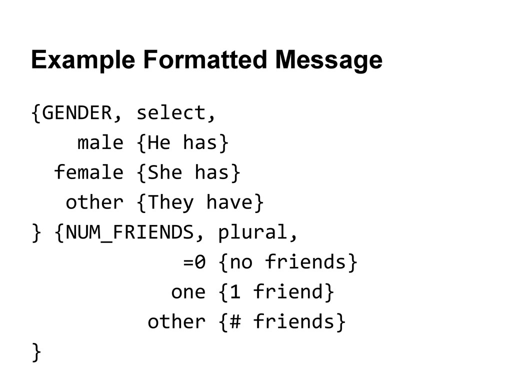 Example Formatted Message {GENDER, select, male...