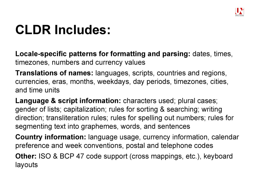CLDR Includes: Locale-specific patterns for for...
