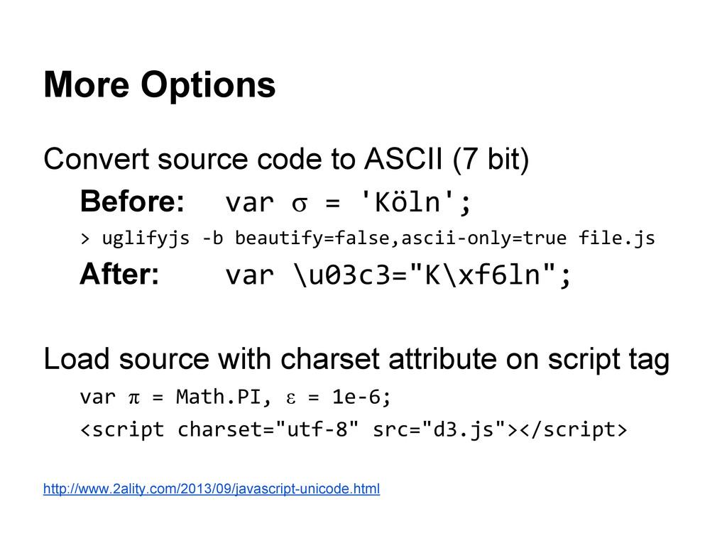 More Options Convert source code to ASCII (7 bi...