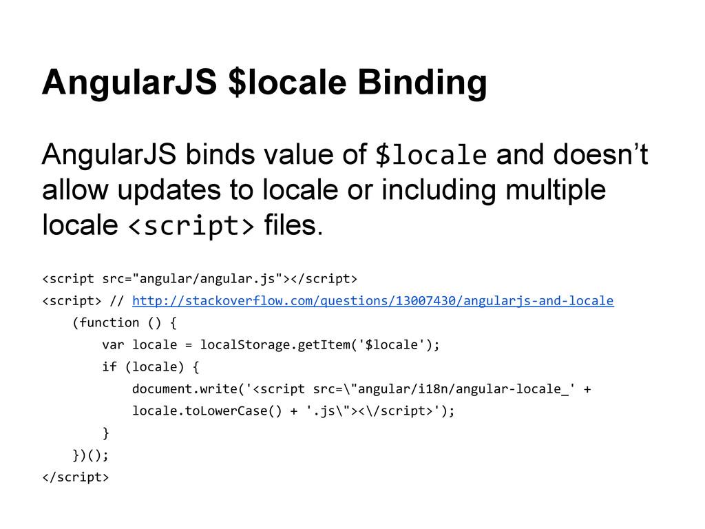 AngularJS $locale Binding AngularJS binds value...