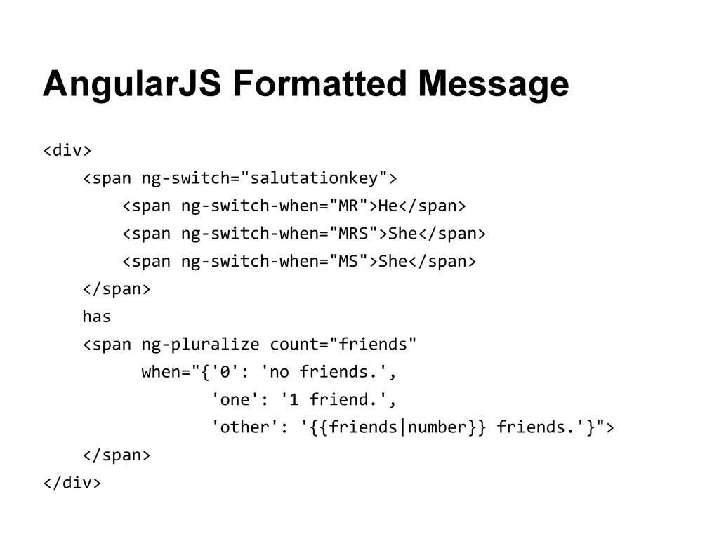 AngularJS Formatted Message <div> <span ng-swit...