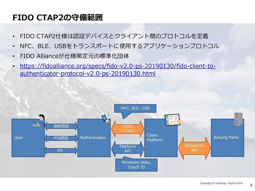 Copyright © Yoshikazu Nojima 2019 FIDO CTAP2の守備...