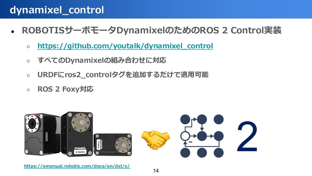 ● ROBOTISサーボモータDynamixelのためのROS 2 Control実装 ○ h...