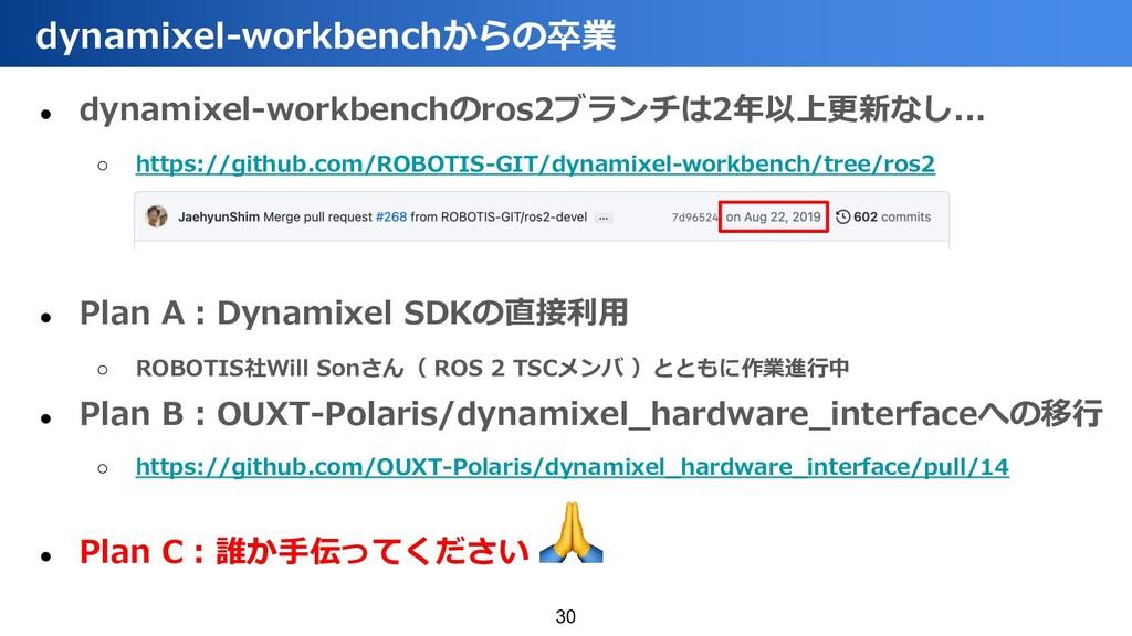 ● dynamixel-workbenchのros2ブランチは2年以上更新なし... ○ ht...
