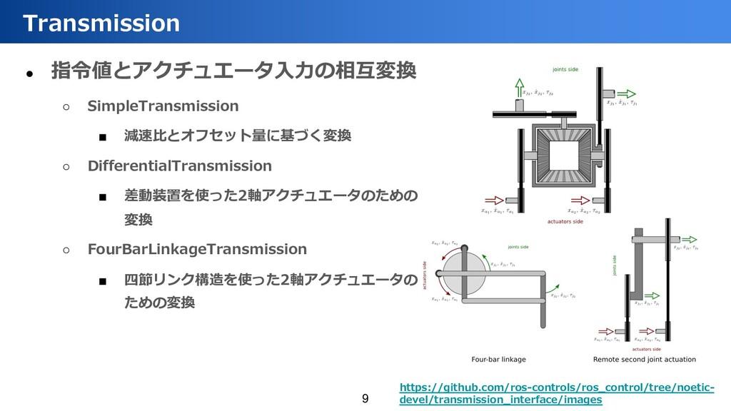 ● 指令値とアクチュエータ⼊⼒の相互変換 ○ SimpleTransmission ■ 減速⽐...