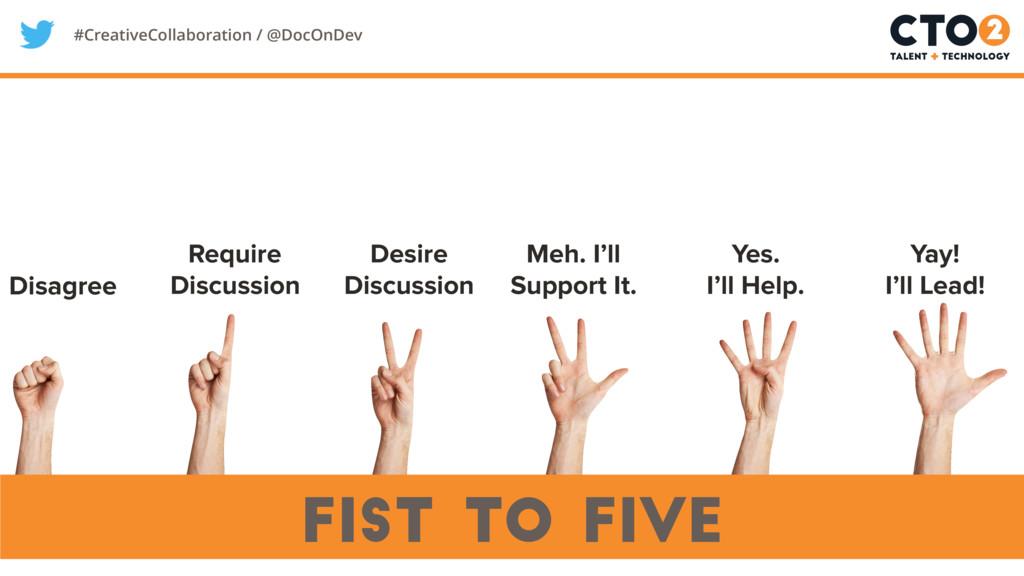 #CreativeCollaboration / @DocOnDev fist to five...