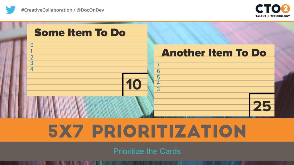 #CreativeCollaboration / @DocOnDev 5x7 Prioriti...