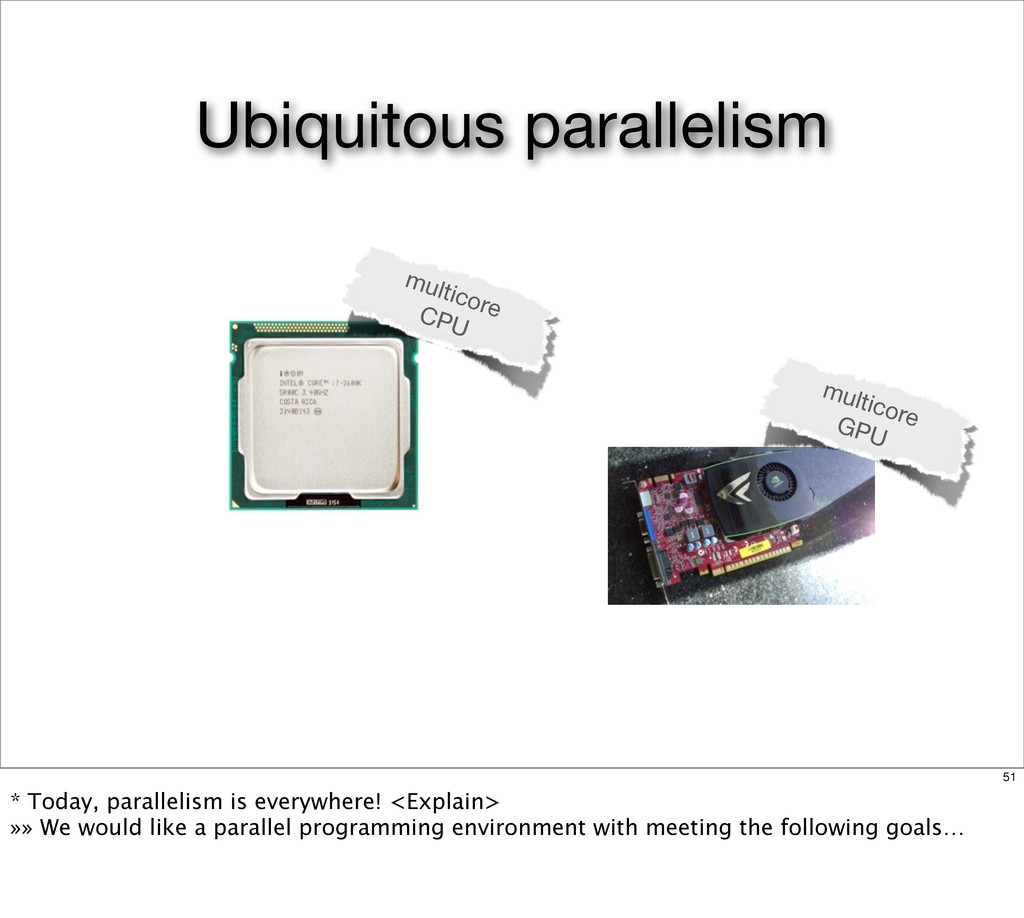 multicore GPU multicore CPU Ubiquitous parallel...