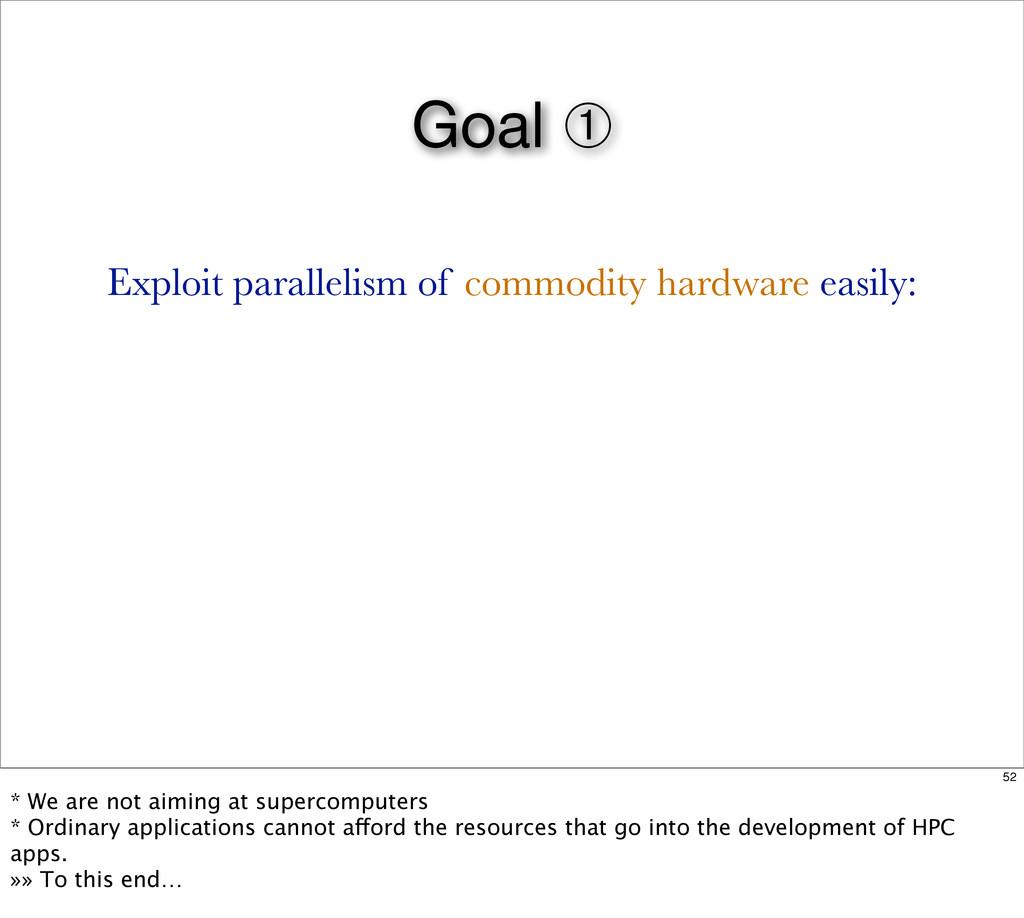 Goal ➀ Exploit parallelism of commodity hardwar...