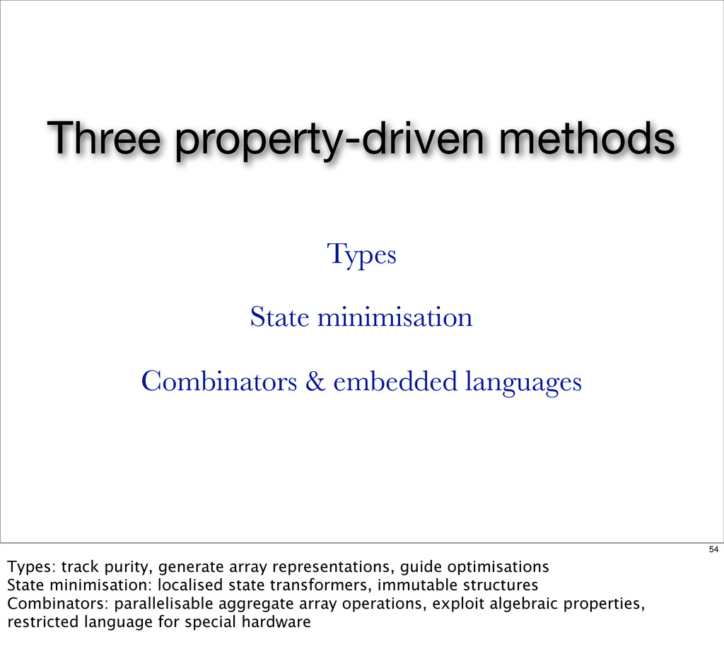 Three property-driven methods Types State minim...