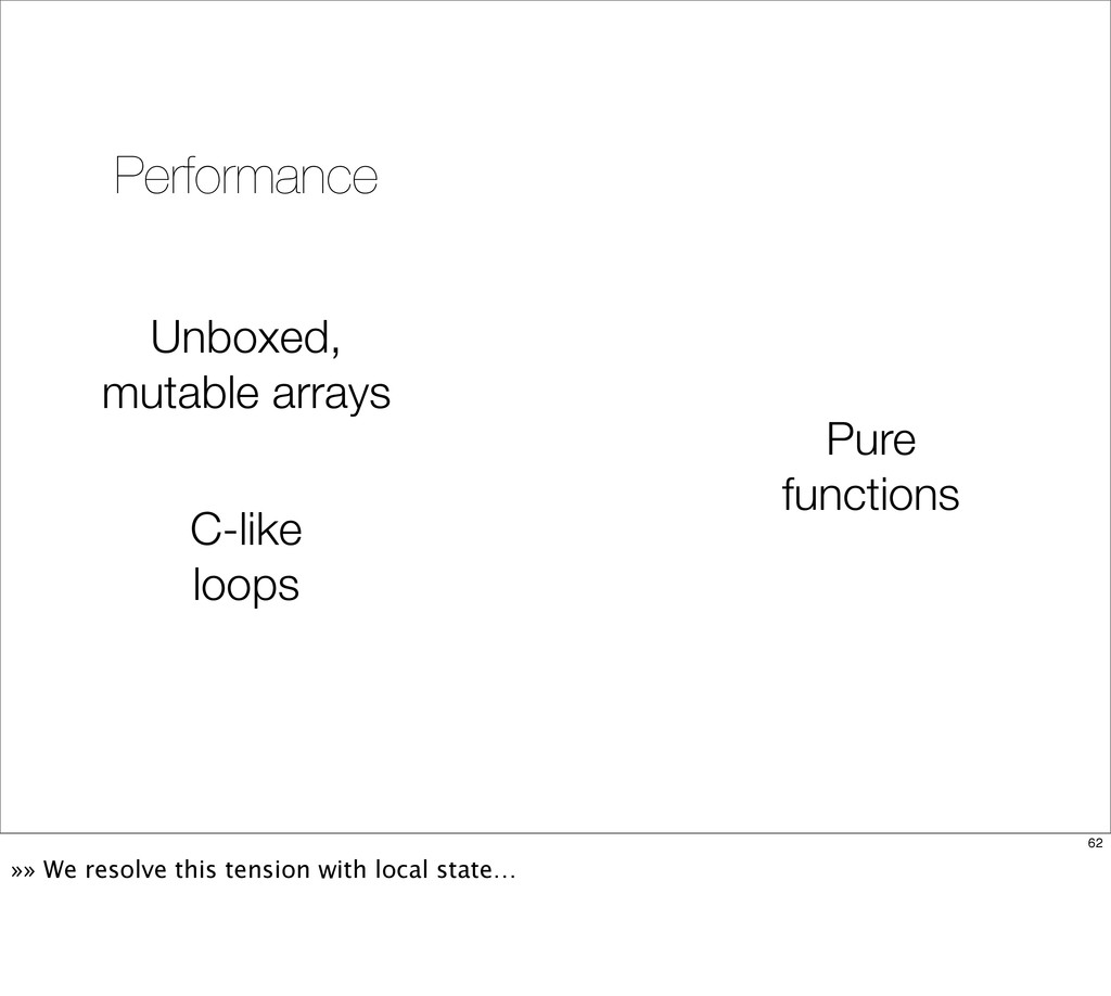 Unboxed, mutable arrays C-like loops Performanc...