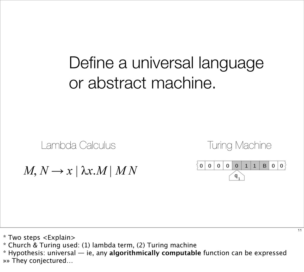 Define a universal language or abstract machine....