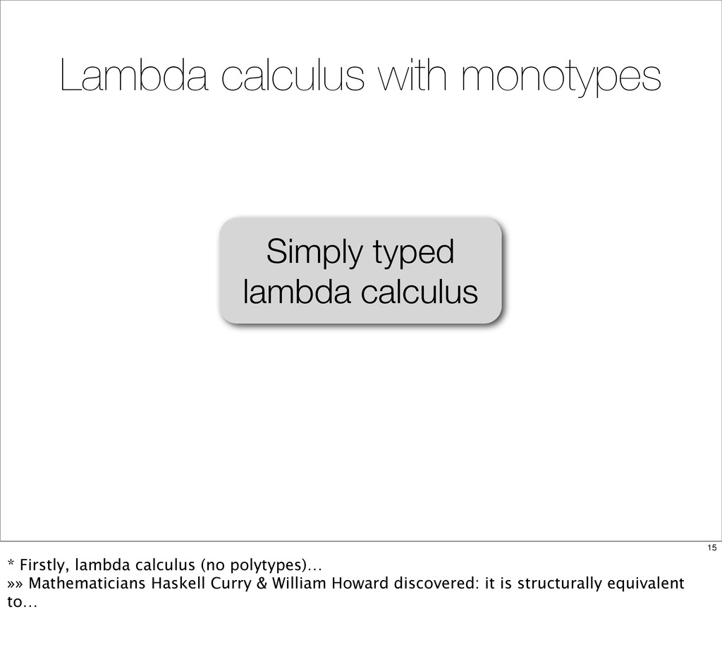 Simply typed lambda calculus Lambda calculus wi...