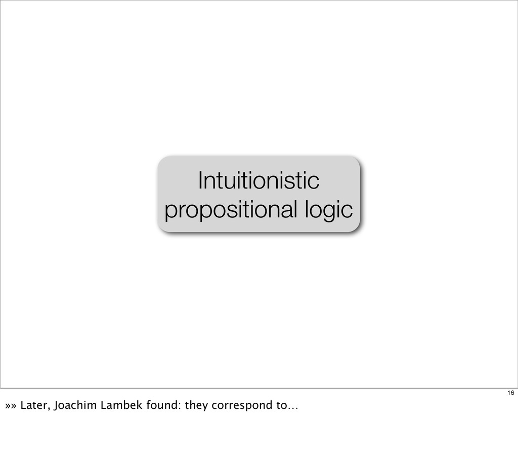 Intuitionistic propositional logic 16 »» Later,...