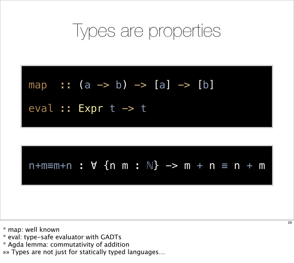 Types are properties map :: (a -> b) -> [a] -> ...