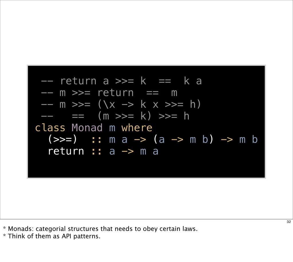-- return a >>= k == k a -- m >>= return == m -...