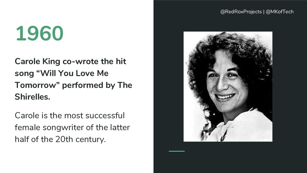 """1960 Carole King co-wrote the hit song """"Will Yo..."""