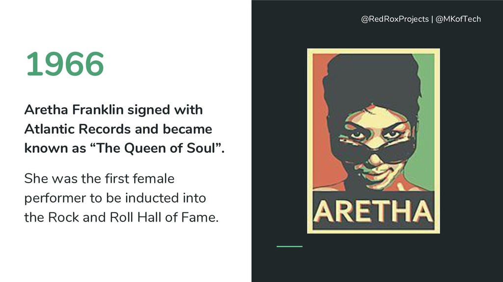 1966 Aretha Franklin signed with Atlantic Recor...