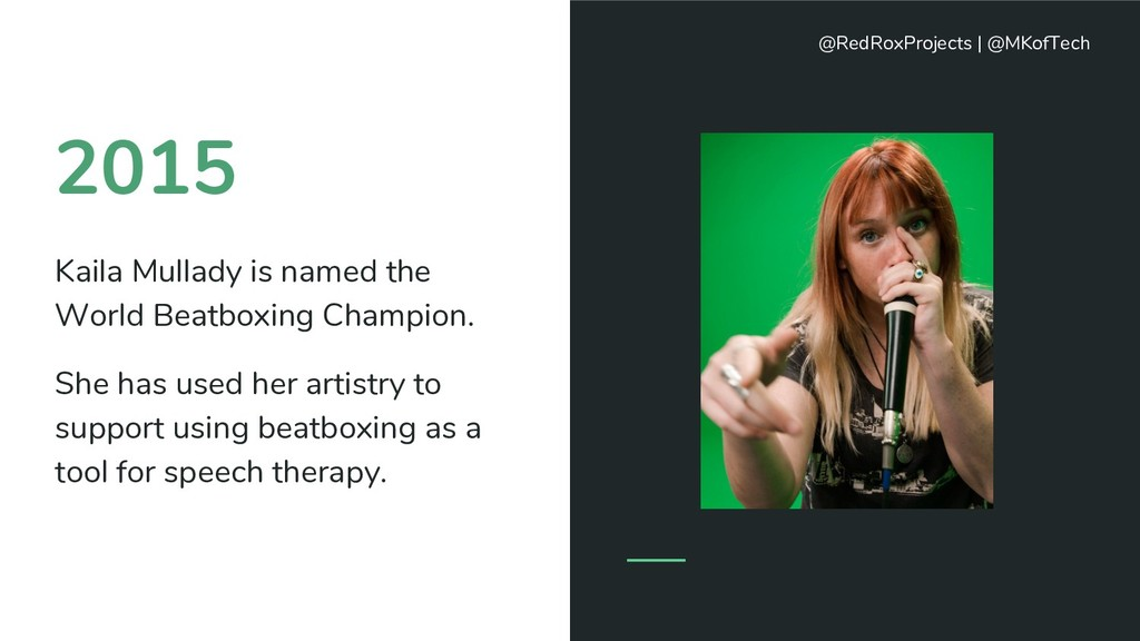 2015 Kaila Mullady is named the World Beatboxin...