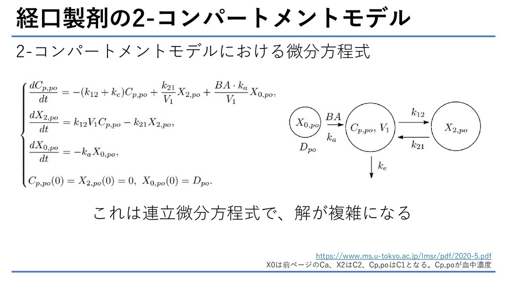 経口製剤の2-コンパートメントモデル 2-コンパートメントモデルにおける微分方程式 https...