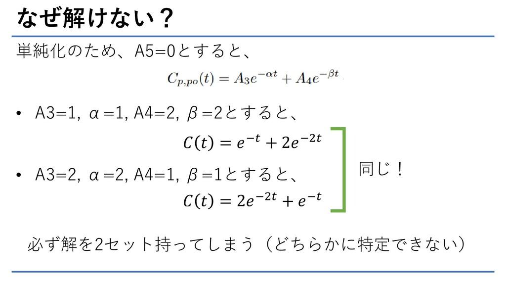なぜ解けない? 単純化のため、A5=0とすると、 • A3=1, α=1, A4=2, β=2...