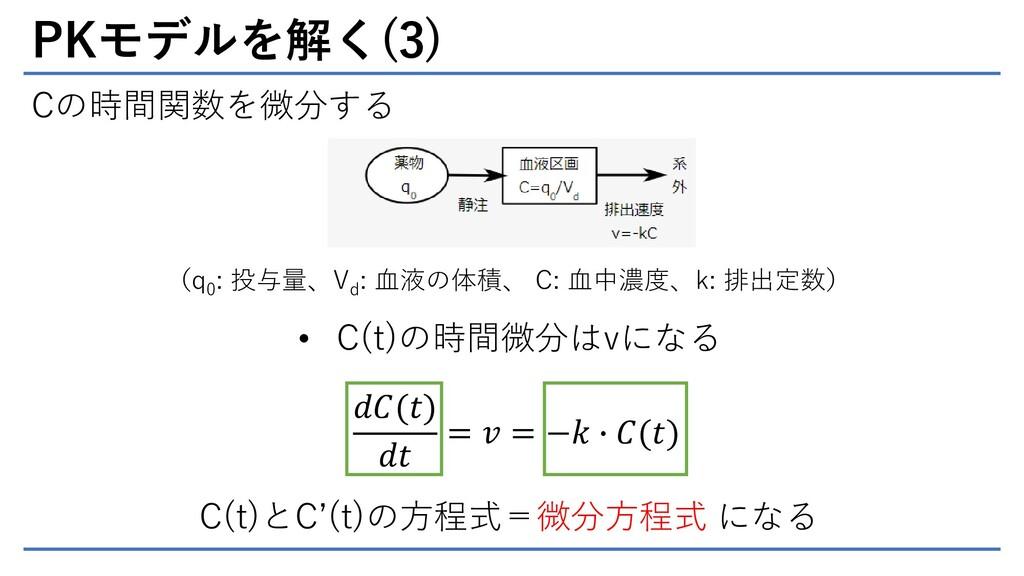 PKモデルを解く(3) Cの時間関数を微分する (q 0 : 投与量、V d : 血液の体積、...