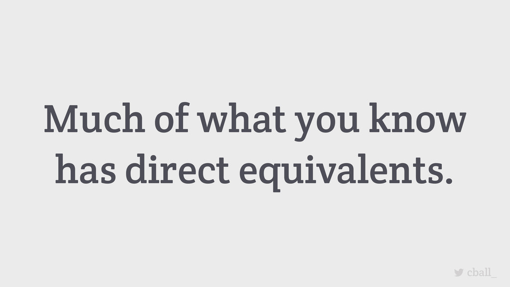 Much of what you know has direct equivalents. c...