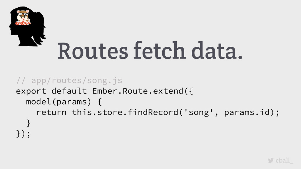 Routes fetch data. cball_ // app/routes/song.js...