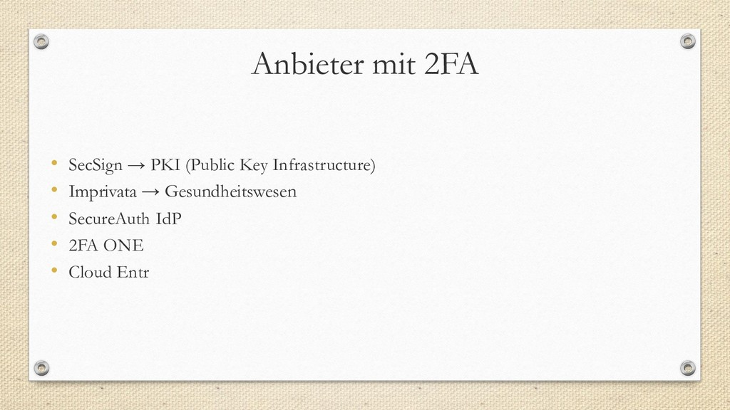 Anbieter mit 2FA • SecSign → PKI (Public Key In...