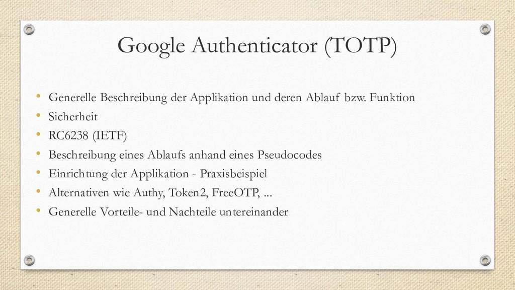 Google Authenticator (TOTP) • Generelle Beschre...