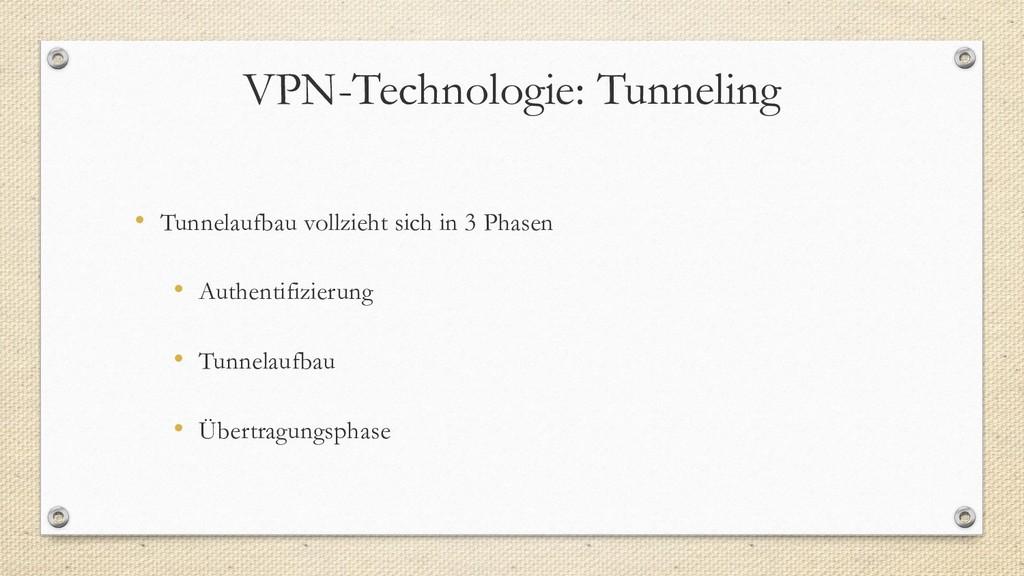VPN-Technologie: Tunneling • Tunnelaufbau vollz...
