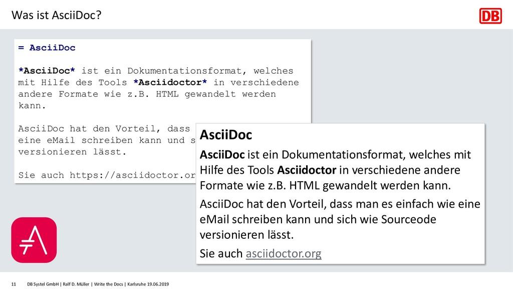 Was ist AsciiDoc? DB Systel GmbH   Ralf D. Müll...