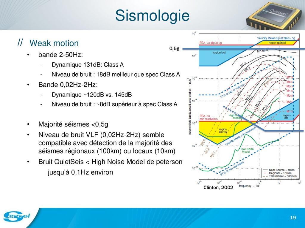 Sismologie Weak motion • bande 2-50Hz: - Dynami...